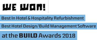 We won! Hotel-Standards – Best In Hotel & Hospitality Refurbishment and Best Hotel Design/Build Management Software at the BUILD Awards 2018